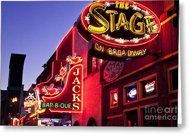 Best Sellers -  - Nashville Tennessee Greeting Cards - Music City USA Greeting Card by Brian Jannsen