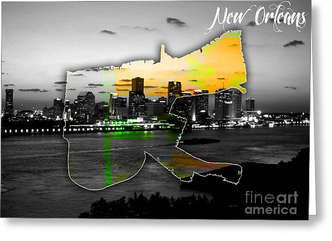 City Skylines Greeting Cards - New Orleans Map and Skyline Watercolor Greeting Card by Marvin Blaine