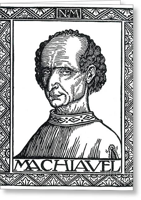 Portrait Woodblock Greeting Cards - Niccolo Machiavelli, Italian Writer Greeting Card by Photo Researchers