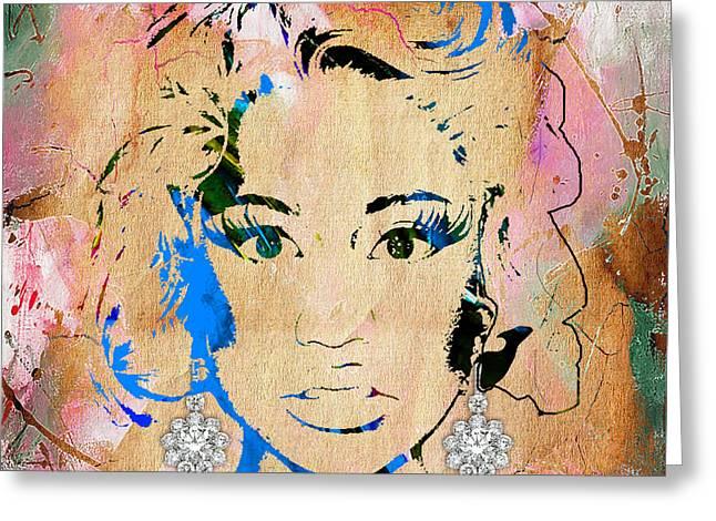 Nicki Minaj Greeting Cards - Nicki Minaj Diamond Earring Collection Greeting Card by Marvin Blaine