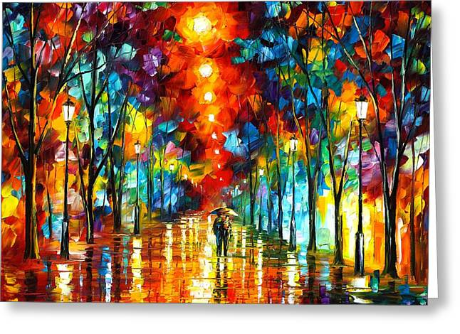 Owner Greeting Cards - Night Park Greeting Card by Leonid Afremov