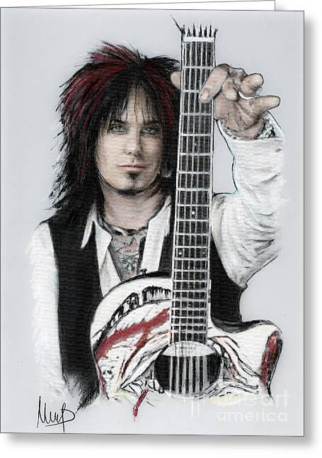 Musician Pastels Greeting Cards - Nikki Sixx Greeting Card by Melanie D