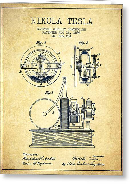 Magnetic Greeting Cards - Nikola Tesla Electric Circuit Controller Patent Drawing From 189 Greeting Card by Aged Pixel