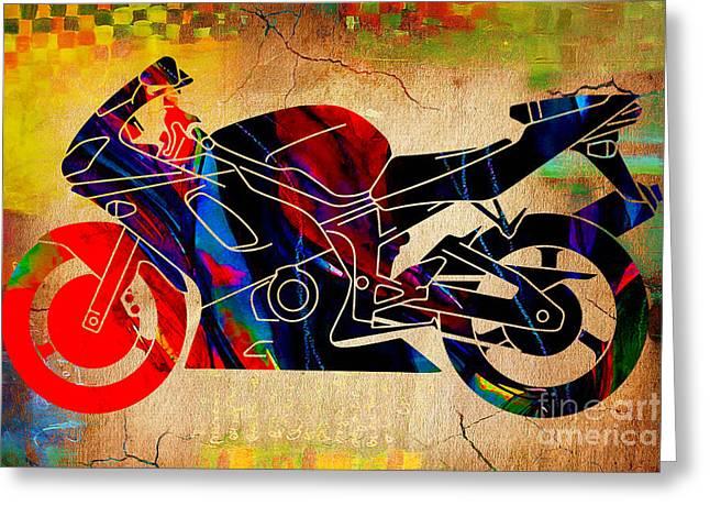 Yamaha Greeting Cards - Ninja Motorcycle Art Greeting Card by Marvin Blaine