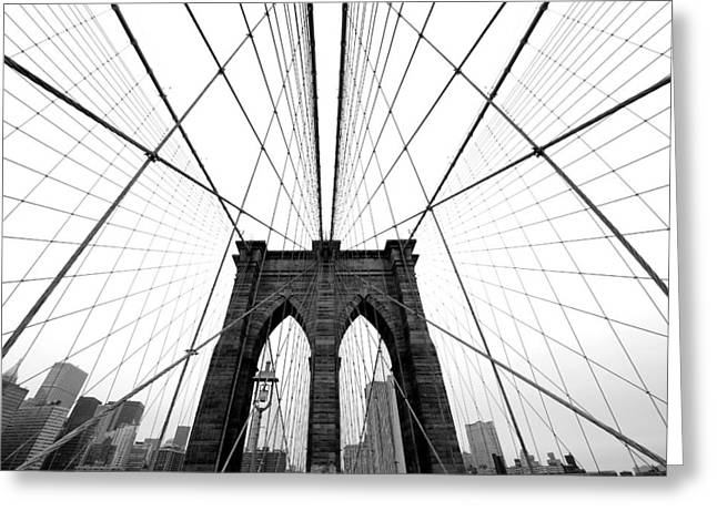 Black Greeting Cards - NYC Brooklyn Bridge Greeting Card by Nina Papiorek