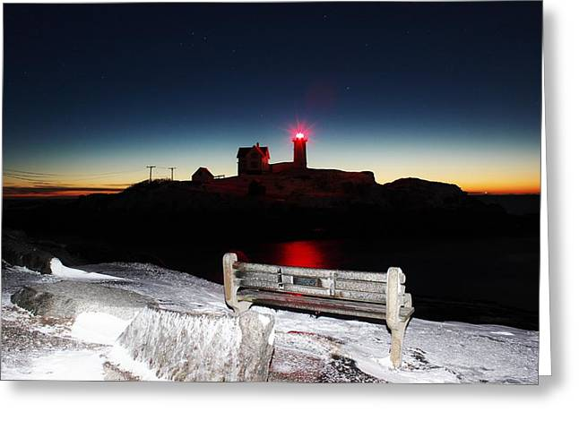 Cape Neddick Lighthouse Greeting Cards - 5 oclock Nubble  Greeting Card by Rick  Blood