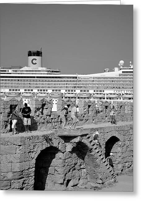 Fortress Greeting Cards - Old city of Rhodes Greeting Card by George Atsametakis
