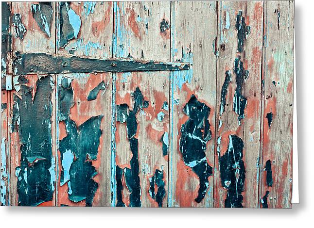 Brown Building Greeting Cards - Old door Greeting Card by Tom Gowanlock