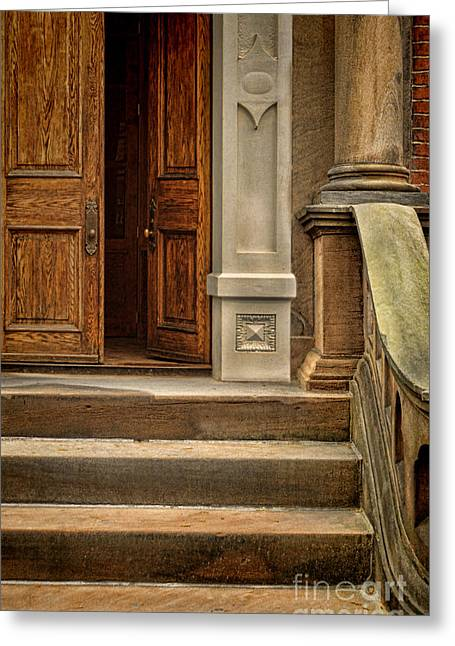 Brick Front Walk Greeting Cards - Open Door Greeting Card by Jill Battaglia