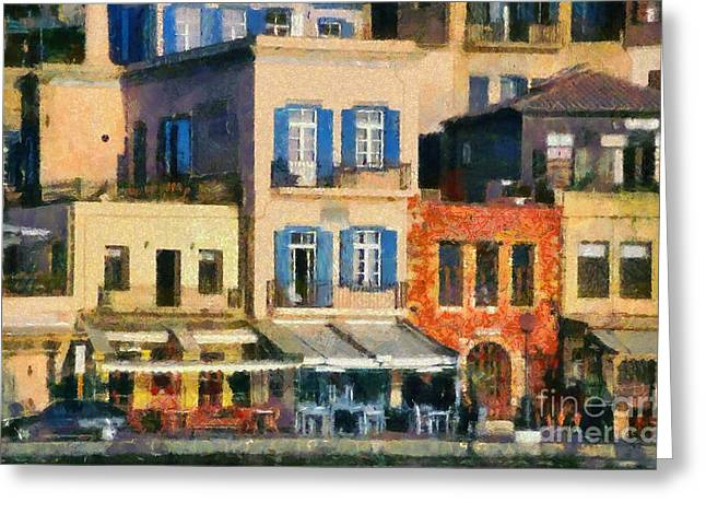 Painting of the old port of Chania Greeting Card by George Atsametakis