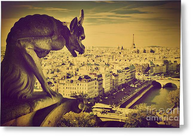 French Landscape Greeting Cards - Paris panorama France  Greeting Card by Michal Bednarek