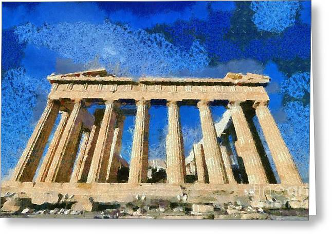Summer Greeting Cards - Parthenon temple Greeting Card by George Atsametakis