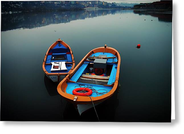 Istanbul Greeting Cards - Peaceful Istanbul Harbor Greeting Card by Halit Altunterim