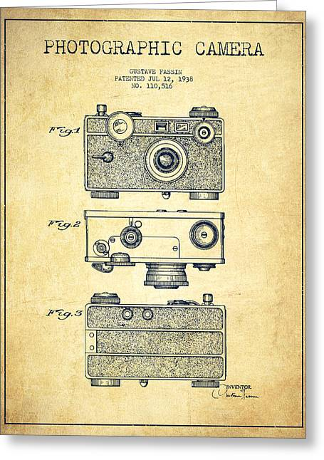 Camera Greeting Cards - Photographic Camera Patent Drawing from 1938 Greeting Card by Aged Pixel