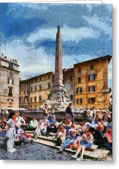 Framed Prints Greeting Cards - Piazza della Rotonda in Rome Greeting Card by George Atsametakis