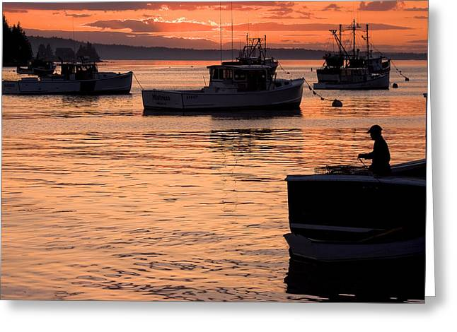 Port Clyde Maine Fishing Boats At Sunset Greeting Card by Keith Webber Jr