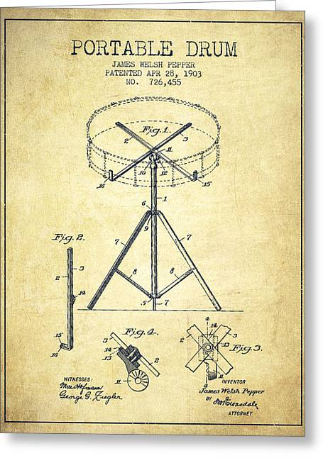Drum Art Greeting Cards - Portable Drum patent Drawing from 1903 - Vintage Greeting Card by Aged Pixel