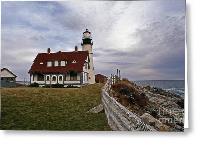 Maine Lighthouses Greeting Cards - Portland Head Lighthouse Greeting Card by Skip Willits