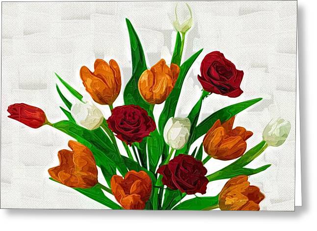 Printables Greeting Cards - Poster Flowers Greeting Card by Victor Gladkiy