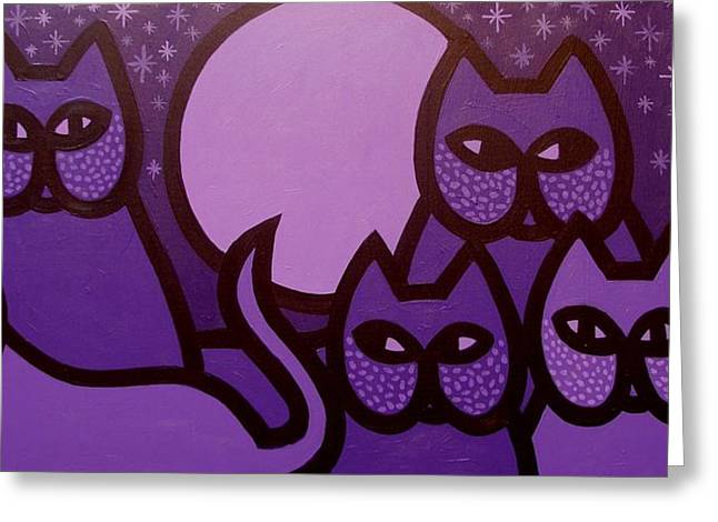 Cat Greeting Card Greeting Cards - 5 Purple Cats Greeting Card by John  Nolan