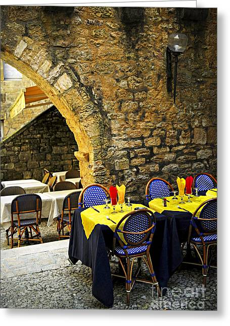 Dordogne Greeting Cards - Restaurant patio in France Greeting Card by Elena Elisseeva