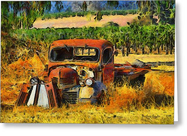 Vineyard Art Greeting Cards - Retired Relics Greeting Card by Barbara Snyder