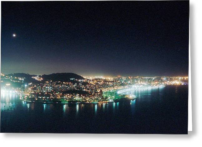 Night Scenes Greeting Cards - Rio De Janeiro Lit Up At Night Viewed Greeting Card by Panoramic Images