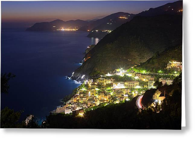 Italian Sunset Greeting Cards - Riomaggiore Greeting Card by Sebastian Wasek