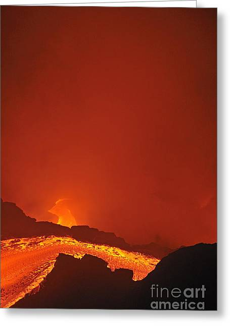 River Of Molten Lava Flowing To The Sea Greeting Card by Sami Sarkis