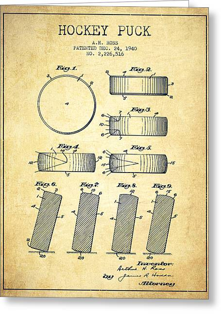 Hockey Greeting Cards - Roll Prevention Hockey Puck Patent Drawing From 1940 Greeting Card by Aged Pixel