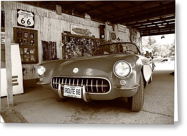 Historic Country Store Greeting Cards - Route 66 Corvette Greeting Card by Frank Romeo