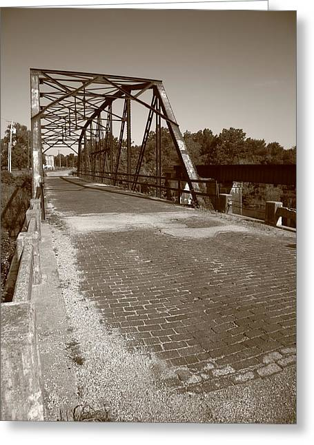 Gravel Road Greeting Cards - Route 66 - One Lane Bridge Greeting Card by Frank Romeo