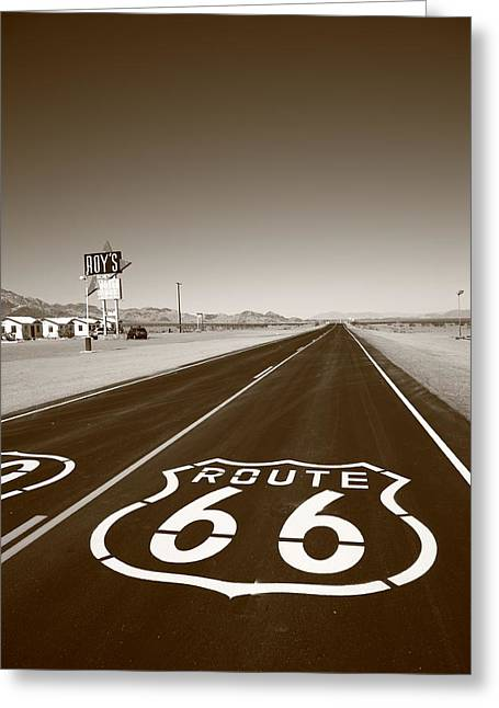 Distance Framed Prints Greeting Cards - Route 66 Shield Greeting Card by Frank Romeo