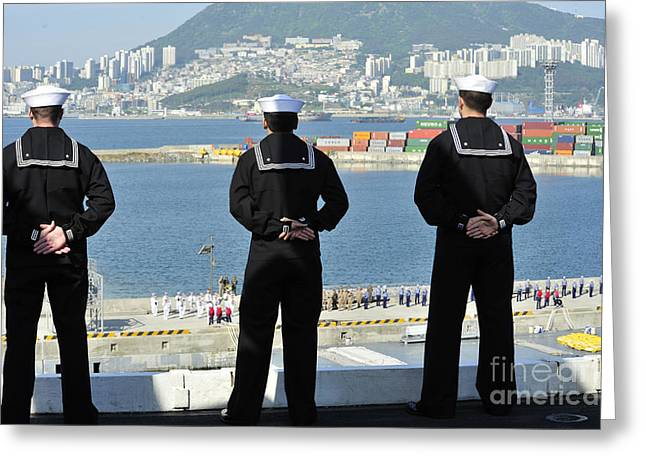 Recently Sold -  - Man Dressed In Black Greeting Cards - Sailors Man The Rails Aboard Greeting Card by Stocktrek Images