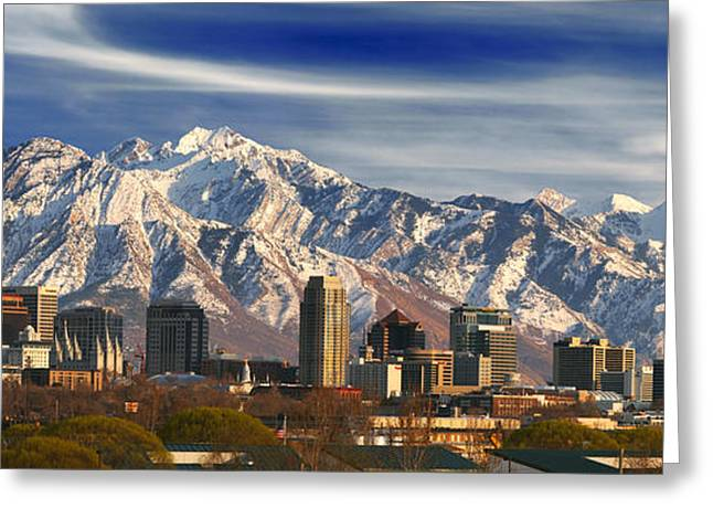 Best Sellers -  - Snowy Day Greeting Cards - Salt Lake City Skyline Greeting Card by Utah Images