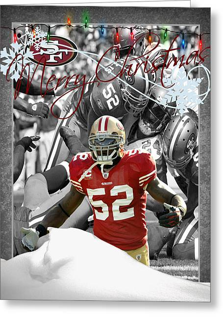 Patrick Willis Greeting Cards - San Francisco 49ers Christmas Card Greeting Card by Joe Hamilton