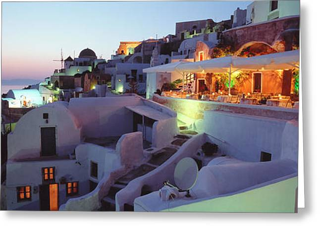 Mediterranean Landscape Greeting Cards - Santorini, Greece Greeting Card by Panoramic Images