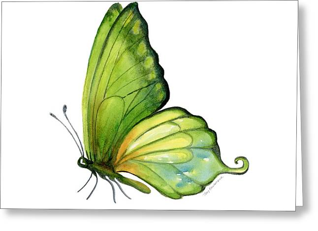 White Background Greeting Cards - 5 Sap Green Butterfly Greeting Card by Amy Kirkpatrick
