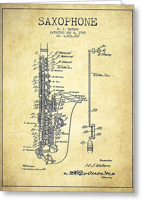 Exclusive Greeting Cards - Saxophone Patent Drawing From 1928 Greeting Card by Aged Pixel