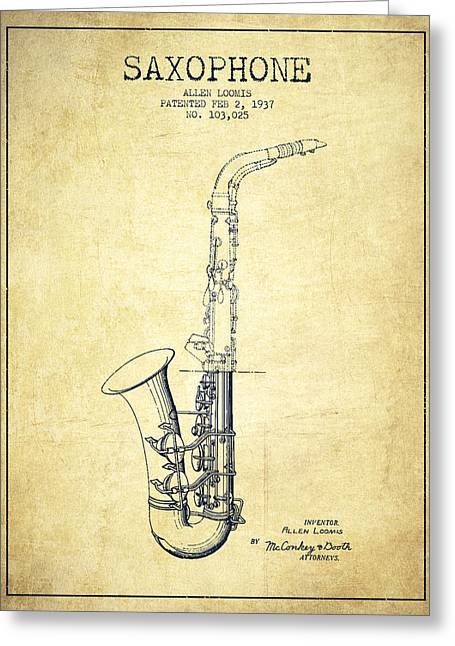 Adolphe Greeting Cards - Saxophone Patent Drawing From 1937 - Vintage Greeting Card by Aged Pixel