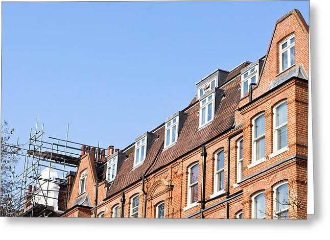 Townhouses Greeting Cards - Scaffolding Greeting Card by Tom Gowanlock