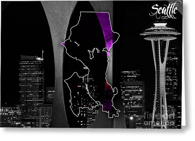 Seattle Washington Greeting Cards - Seattle Map and Skyline Watercolor Greeting Card by Marvin Blaine