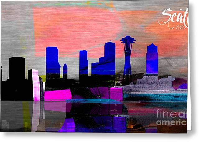Seattle Skyline Greeting Cards - Seattle Skyline Watercolor Greeting Card by Marvin Blaine