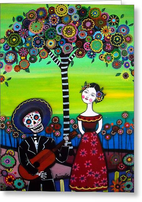 Des Paintings Greeting Cards - Serenata Greeting Card by Pristine Cartera Turkus