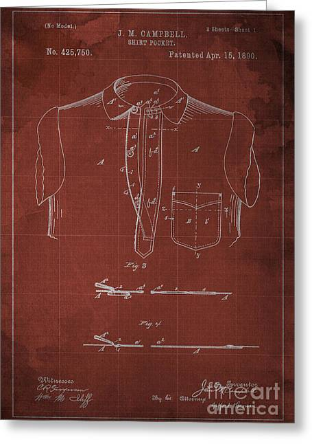 Shirt Pocket Blueprint Patent Greeting Card by Pablo Franchi