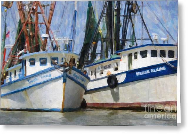 Shrimp Boats On The Creek Greeting Card by Dale Powell