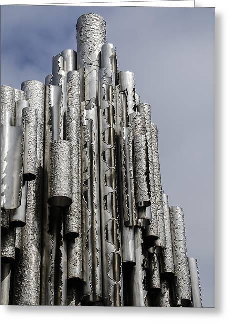 Helsinki Finland Greeting Cards - Sibelius Pipe Monument - Helsinki Finland Greeting Card by Jon Berghoff