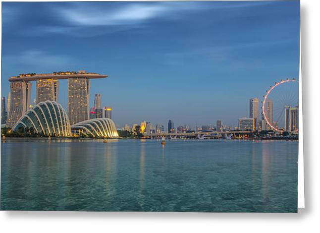 River View Greeting Cards - Singapore Greeting Card by Anek Suwannaphoom