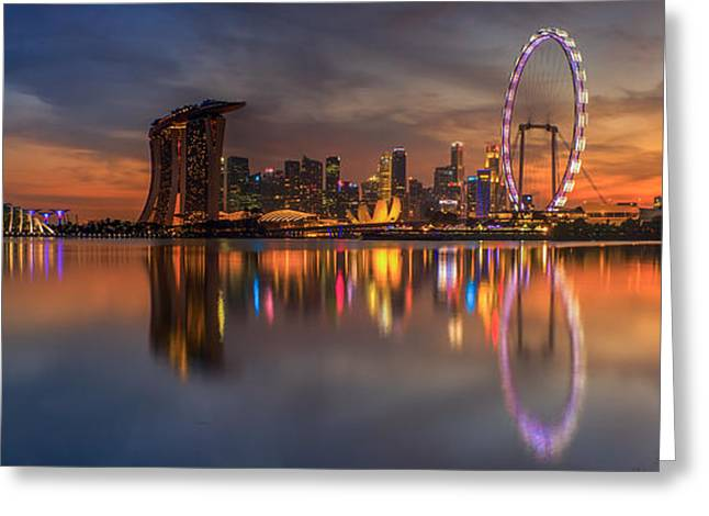 Singapore city Greeting Card by Anek Suwannaphoom