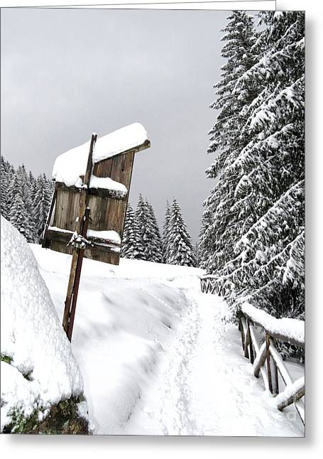 Ski Art Greeting Cards - Snow and mountain Greeting Card by Ulisse Bart